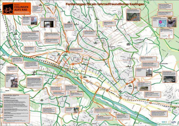 Zielnetzplan fahrradfreundliches Esslingen