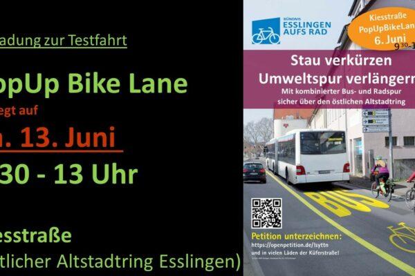 PopUpBikeLane am 13.06.2020 in Esslingen
