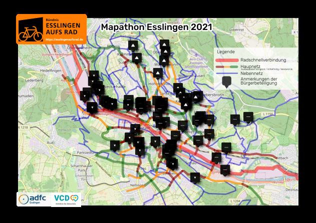 Ziel-Radnetz mit Anmerkungen der Öffentlichkeitsbeteiligung