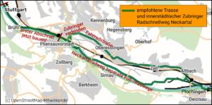 Trassenverlauf Radschnellweg und innerstädtische Radachse
