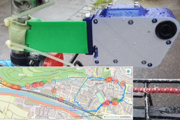 Überholabstand gemessen mit dem Openbikesensor. Map Data OpenStreetMap-Mitwirkende